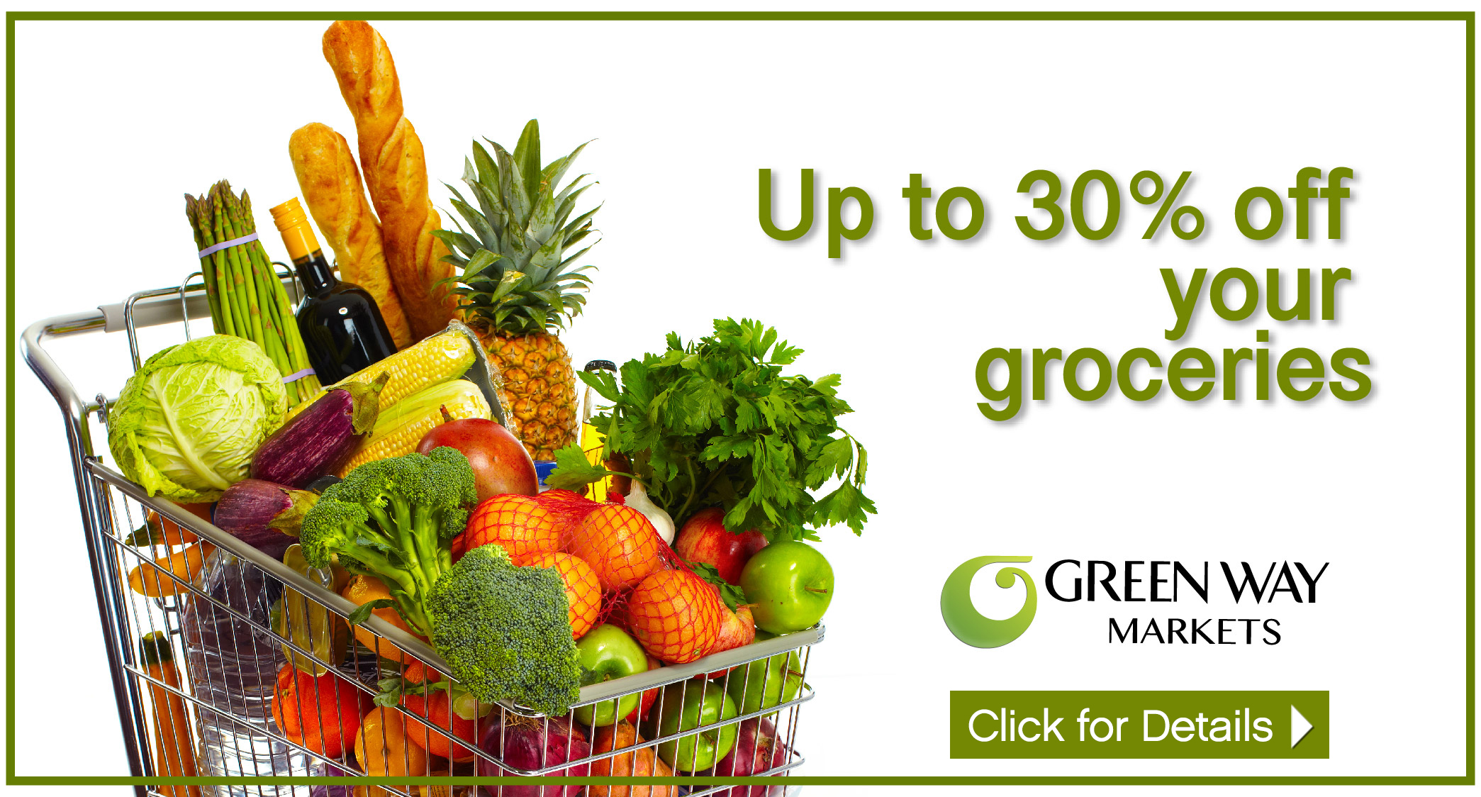 shopping cart with groceries, advertising 30% off sale