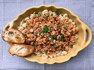 Turkey Bolognese pasta in a dish on the table