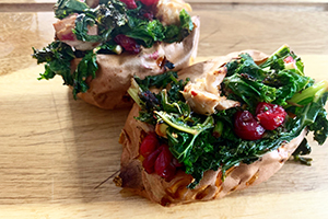 Baked sweet potatoes with turkey and cranberries