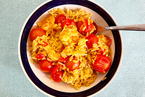 Spanish rice with shrimp in a bowl
